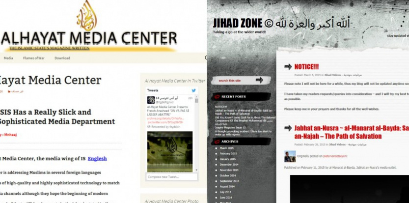 Les sites d'al Hayat Media Center et le blog Mujahida89