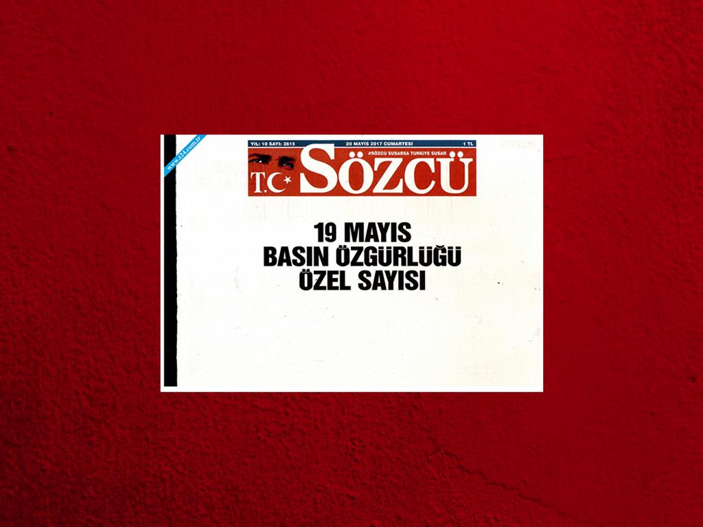 """Η """"λευκή"""" διαμαρτυρία της εφημερίδα Sözcü για συλλήψεις δημοσιογράφων της"""